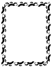 Vertical frame with silhouettes of flying bats. Original background for greeting cards, invitations, prints.Vector clip art.