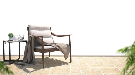 Poltrona in legno con coperta e tavolino relax