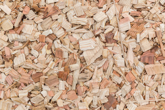 Wood chips texture, wooden background, top view.light brown