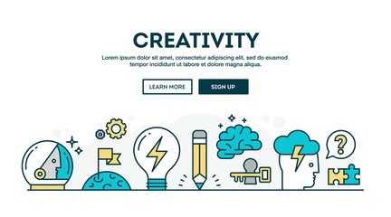 Creativity, colorful concept header, flat design thin line style