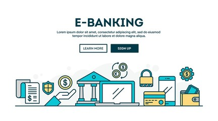 E-banking, colorful concept header, flat design thin line style