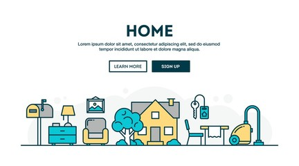 House, home, interior, colorful concept header, flat design thin line style