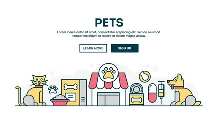 Pets, colorful concept header, flat design thin line style