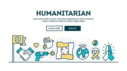 Humanitarian, colorful concept header, flat design thin line style