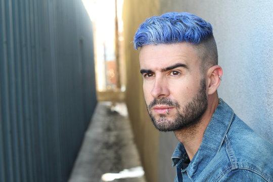 Emotional glamorous urban blue hair disco punk fashion style