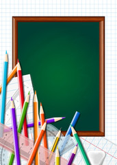 Back to school background with chalkboard and supplies. Stationery equipment. Vector realistic illustration