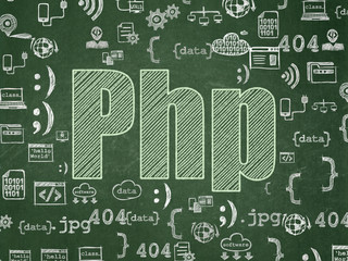 Software concept: Php on School board background
