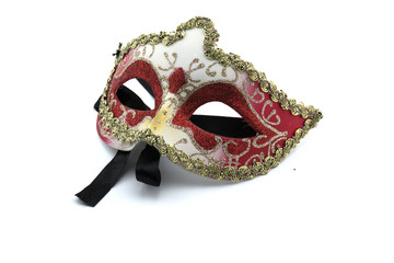 Beautiful masks Carnival of Venice on white background