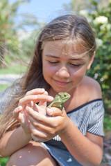 Little girl with Chameleon