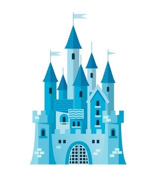 Illustration of a cute blue castle vector