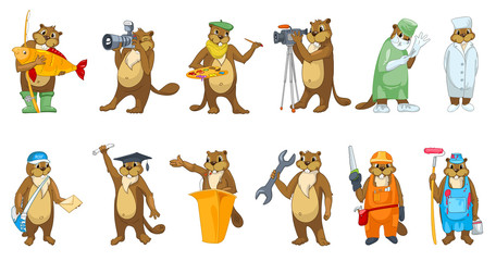 Vector set of beavers profession illustrations.
