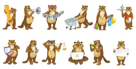 Vector set of cute beavers illustrations.