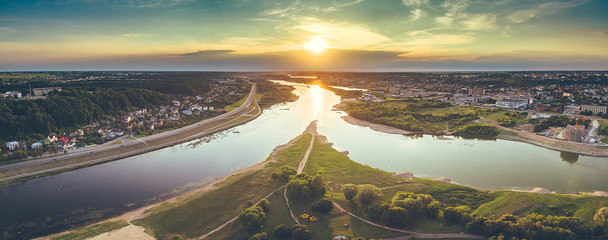 Aerial image of Kaunas city, Lithuania. Summer sunset scene