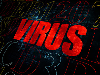 Protection concept: Virus on Digital background