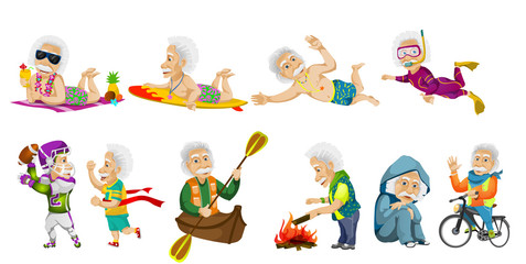 Vector set of old sports man illustrations.