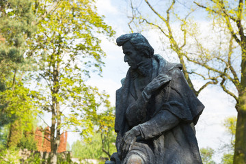 A statue in the park surrounding Fryderyk Chopin's Birthplace in Żelazowa Wola, Poland