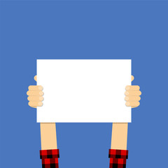 Placard in hands. Illustration flat design style