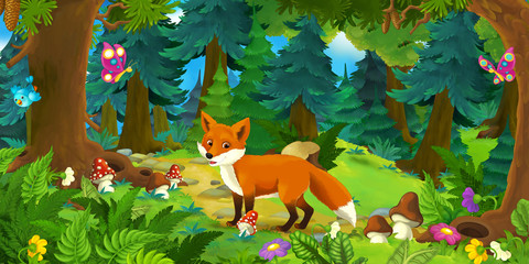 Cartoon scene with happy fox standing in the forest - illustration for children