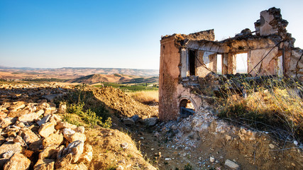 Sicilian Ghost Town of Poggioreale in Italy, Europe Wall mural