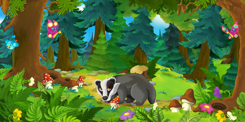 Cartoon scene with happy badger standing in the forest - illustration for children