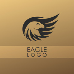 Abstract minimalistic logo of eagle. Universal premium elegant creative symbol.