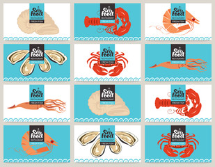 Set of business cards seafood with different sea animals and fishes