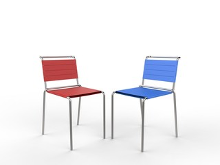 Red and blue aluminium chairs with cloth straps - on white background