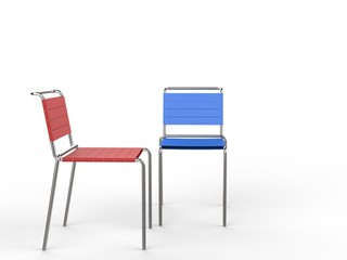 Blue and red chairs - isolated on white background
