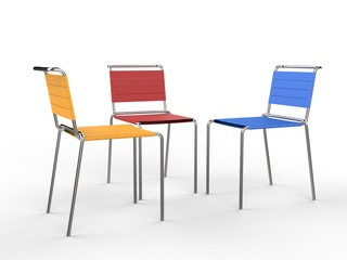 Three colorful chairs - isolated on white background - studio shot