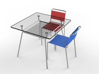 Small glass table with blue and red chairs - isolated on white background