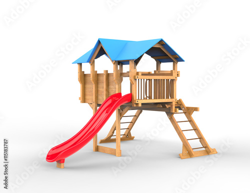 Kids wooden playhouse with red slide and blue roof for Free playhouse plans with slide