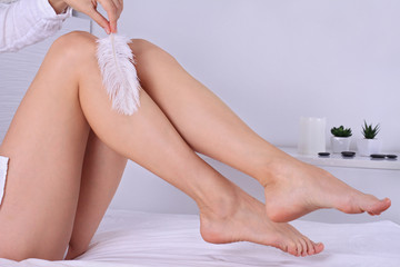 Woman legs, ideal smooth skin. Waxing, hair removal concept