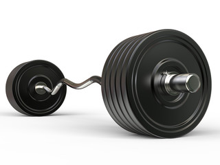 Big barbell weight with curved bar - isolated on white background
