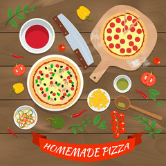 Flat vector homemade pizza illustration concept. Top view