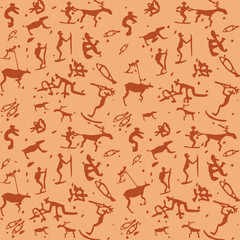 Primitive art vector pattern of stylized petroglyph drawings