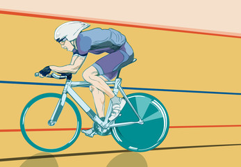 Cyclist in trials speed in velodrome