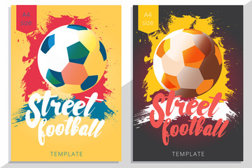 Set of street football poster design in A4 size. Vector soccer flyer