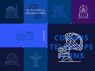 Universe, celestial, observatory, astronomy icon, rocket, science, space, galaxy and more telescope, Plain and line icons set, flat design, vector illustration about astronomic.