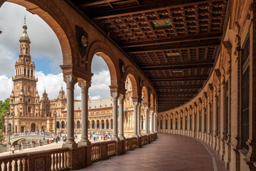 Panoramic view of gallery in Plaza de Espana, expo pavillon of Sevilla, Spain