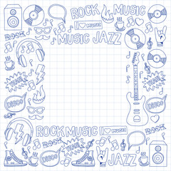 Doodle vector icons Music and sound