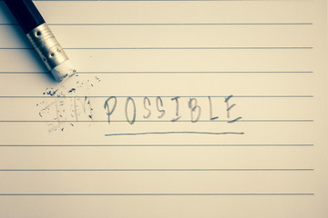 Erase word from impossible to possible