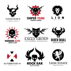 vector illustrationRock and skull logo collection,animal logo set,lion logo,tattoo logo set,vector logo template