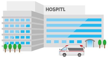 総合病院と救急車のイメージイラスト