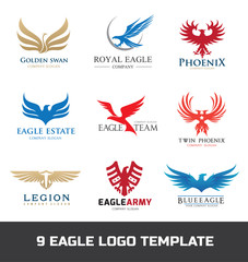 Eagle logo set. Bird logo. Phoenix logo. Wing logo. Vector logo template.