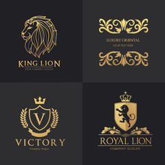 vector illustrationLuxury logo set. hotel logo. lion logo.crest logo set. vector logo template.