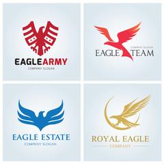 Eagle logo set. Bird logo. Phoenix logo. Wing logo. Vector logo template.