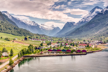 Foto op Aluminium Noord Europa Olden Norway Mountain View