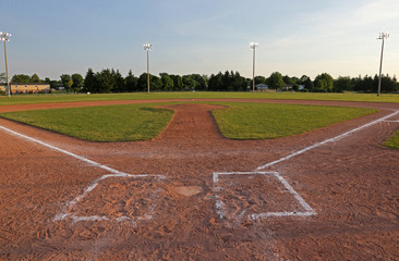 A wide angle shot of a baseball field..