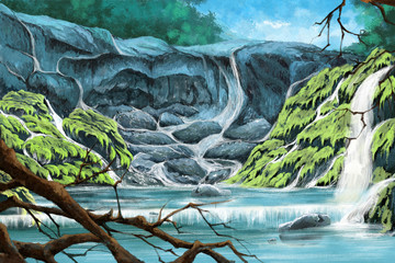 Stone Cliff inside the Forest. Watercolor Style Digital Artwork 21