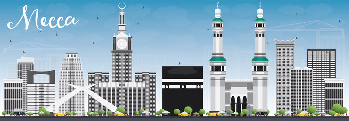 Mecca Skyline with Landmarks and Blue Sky.